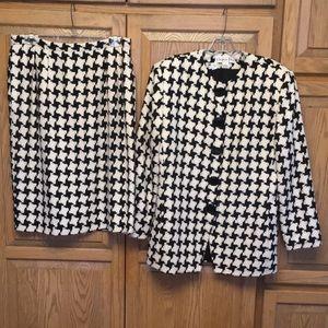 Vintage Dior Houndstooth Suit Skirt Black White